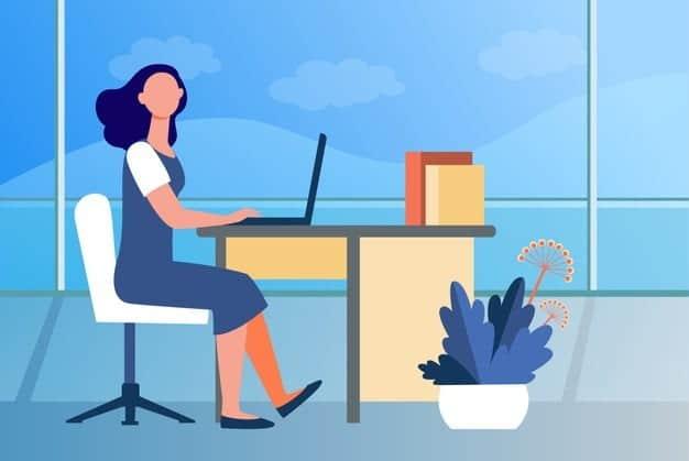 kobieta pracujaca w biurze pracownik pracownik kierownik ilustracja wektorowa plaskie wnetrze miejsce pracy zawodowe biznesowe 74855 8694